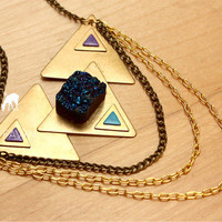 Handmade Brass and Chain Triangle Statement Necklace with Titanium Druzy Stone