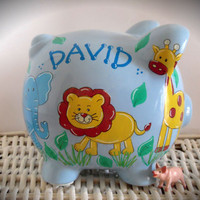 Personalized Hand Painted Piggy Bank With Jungle Theme