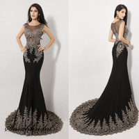 Sexy Mermaid Black Formal Party Evening Dress Fishtail Prom
