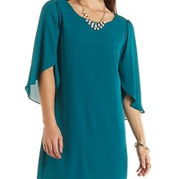 Tulip Sleeve Chiffon Shift Dress by Charlotte Russe - Hunter Green