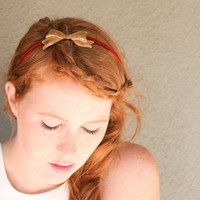 Bow headband with a Vintage copper bow on rust, adult headbands