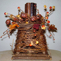 Twig Grapevine Candle Holder w /Brown Pumpkin Candlering & Twig Woodsy Candle