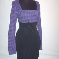 Vintage 1980s Houndstooth Dress Purple