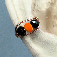 Halloween Ear Cuff Copper Ear Cuff Black and Orange Crystal