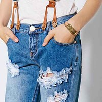 One Teaspoon Ford Awesome Baggy Suspender Jean- Blue