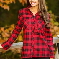 Fireside Beauty Plaid Blouse-Red/Black