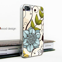 light silvery iphone 4 case iphone 4s case iphone 4 cover blue flower green leaf  image unique Iphone case design ($16.99)