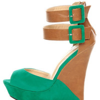 Monaco Sea Green and Tan Belted Color Block Wedges - $39.00