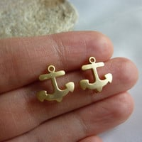 Anchor Stud Earrings In Gold-gold A.. on Luulla