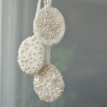 3 Wool Felt  White Christmas Ornaments with Mixed Pearly Beads - Whimsical Winter Decoration - Gift Idea - FREE SHIPPING