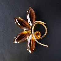 1950's Brooch - Amber Glass Vintage Pin - 50's Costume Jewellery - Gift Under 10