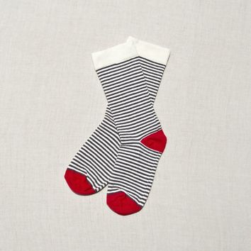 Zkano :: Ladies' Organic Cotton Olive Sock, Charcoal Red Stripe