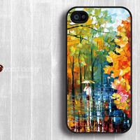 Case for black iphone 4 case iphone 4s case iphone 4 cover colorized painting rain and tree design printing ($13.99)