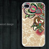 unique iphone cases beautiful  iphone 4 case iphone 4s case iphone 4 cover  illustration classic red green flowers design printing ($13.99)