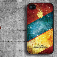 black iphone 4 case iphone 4s case iphone 4 cover colorized wearing Iphone loge design printing ($13.99)