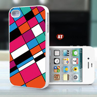 iphone 4 case iphone 4s case iphone 4 cover classic colorized color lump blue white red square array design ($13.99)