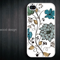 iphone 4 case iphone 4s case iphone 4 cover classic illustrator tree blue flower graphic design printing ($13.99)