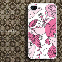 case for iphone 4s iphone 4 case iphone 4s case iphone 4 cover classic  illustrator Pink flower graphic design ($13.99)