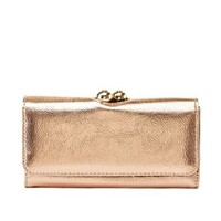 Metallic Kiss-Lock Checkbook Wallet by Charlotte Russe - Champagne