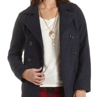 Wool-Blend Pea Coat by Charlotte Russe - Navy Blue