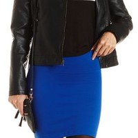 High-Waisted Bodycon Mini Skirt by Charlotte Russe - Cobalt