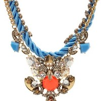 Baroque Mixed Media Bib Necklace by Charlotte Russe - Blue Combo