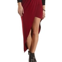 Asymmetrical Ruched Maxi Skirt by Charlotte Russe - Wine