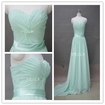Custom high-quality mint bridesmaid dresses,sweetheart Long chiffon prom strapless party dresses,Tiffany blue chiffon beach bridesmaid dress