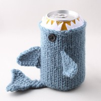 Monster Shark  - for your  Soda Can- Dusty Blue - This monster made it to the front page of Etsy