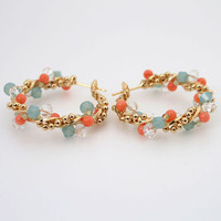 Coral Mint White Beads Gold Plated Hoop Earrings Omega Back