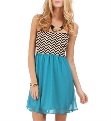 Teal Zig Zag Print Tunic