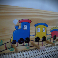 Personalized Hand Painted Coat Hanger With Train Theme