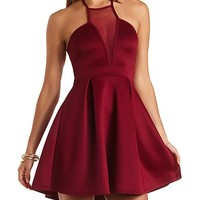 Pleated Halter Dress with Mesh by Charlotte Russe - Oxblood