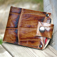 Men's Leather Wallet - Slim Jim Bifold Money Clip --- Brown Giraffe Print