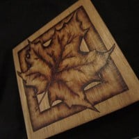 Personal Wood Coaster with Maple Leaf - Rustic woodburned Coaster Art