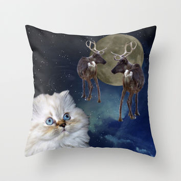 Cat and Reindeers Throw Pillow by Erika Kaisersot