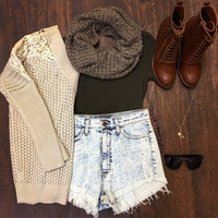 Call The Shots Crop Top - Olive