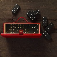 Red Leather Dominoes Set