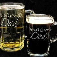 World's Greatest Dad Duo, Etched Glass Beer Mug, Coffee Mug