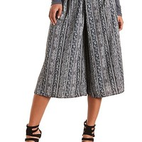 Striped Patterned Culottes by Charlotte Russe - Black/White
