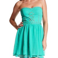 Studded Chiffon Tube Dress: Charlotte Russe