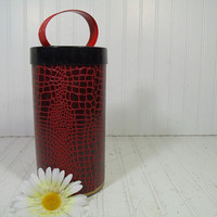 Retro Handy Dandy Yarn Skein Carrying Black & Red Faux Reptile Texture Covered Metal Canister - Vintage Crafters Sewing Bag Round Tall Tote