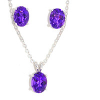 8x6mm Genuine Amethyst Oval Stud Earrings and Pendant Set  in Sterling Silver