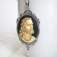 Jesus Christ Necklace, Religious Necklace, Cameo Necklace, Big Pendant.