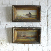 Antique pair original 1800s oil paintings landscape scenes shabby gilt frames