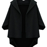 Black High-low Batwing Coat