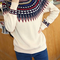 White National Pattern Knit Sweater