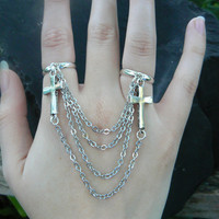 cross double ring triple chained cross slave ring  boho and hipster Rocker Gothic goth Christian