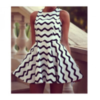 Black and White Swirl Dress