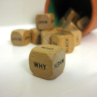 Writer's Block Word Cubes  Vintage Wooden Dice by saltcityspice